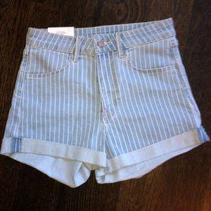 H&M striped denim shorts